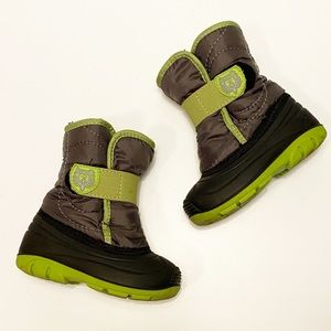 KAMIK Winter Snow Boots Gray Black Green Baby 7